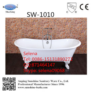 Freestanding Clawfoot White Enamel Cast Iron Bathtub Sw-1010