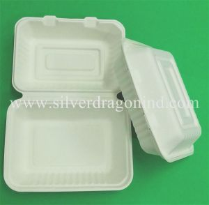 Biodegradable, Eco-Friendly Sugarcane Bagasse Take Away Paper Lunch Box 9 Inch pictures & photos