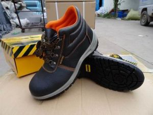 Black Embossed Leather Safety Shoes pictures & photos
