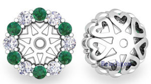 Fashion 925 Sterling Silver Synthetic Emerald Earrings