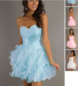 Short Organza Strapless Prom Dress, Party Dresses, Evening Dresses (ED3027) pictures & photos