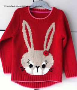 Girls Intarsia Rabbit - True Knitted Sweater pictures & photos