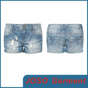 Women Denim Ripped Jeans Shorts (JC6025) pictures & photos