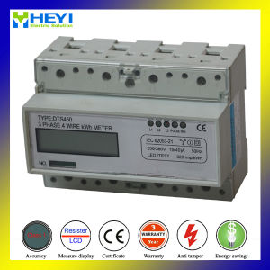 LCD Display DIN Rail Kwh Meter Three Phase Three Wire Energy Meter pictures & photos