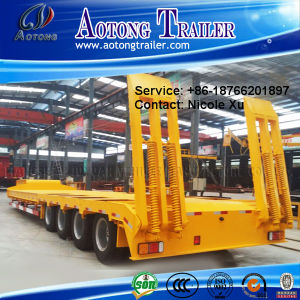 2/3/4/5 Axles 50-100 Tons Flat Lowbed Semi Trailer for Sale (LAT9403TDP) pictures & photos