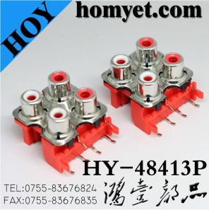 SMD Four Holes RCA Socket with Silvering in Red (HY-48413P) pictures & photos