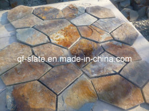 China Multicolor Slate Crazy Paver on Mesh