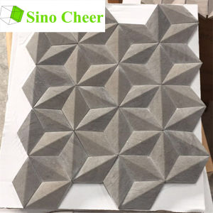 Rhombus Dark Grey Marble Stone Mosaic 3D Wall Tiles pictures & photos