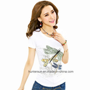 Women Slim Dragonfly Printed and Hand Embroidered T-Shirt (HT8066)