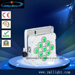 Wireless DMX Battery Powered LED PAR 9PCS 15W RGBWA Battery Operated LED Flat PAR for Christmas pictures & photos
