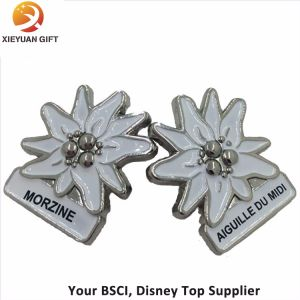 Zinc Alloy Silver Plated White Logo Metal Lapel Pins pictures & photos