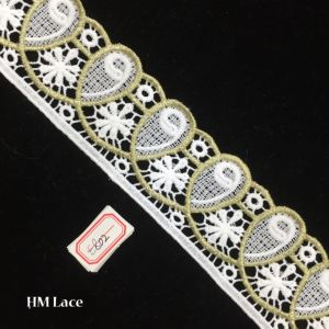 6cm Embroidered White Fabric, off White Lace Fabric, Eyelet Lace, Round Circle Cotton Lace Fabric, Hollowed Hme802 pictures & photos