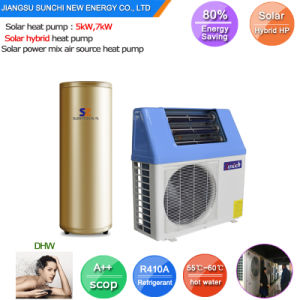 New Tech. 220V Home Dhw 60. Deg. C 5kw 260L, 7kw 300L, 9kw High Cop5.32 Save 80% Power Split Air Heat Pump Hybrid Solar Heat System pictures & photos