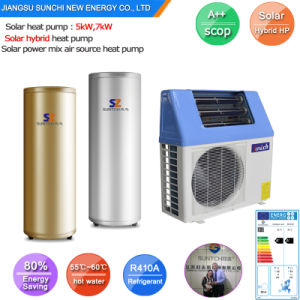 Home Dhw Shower Using Tankless 220V Very High Cop5.32, 5kw, 7kw, 9kw Max 60deg. C R410AA Hybrid Air Heat Pump Solar Water Heater pictures & photos