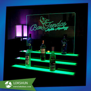 Acrylic Wine Display Bottle Holder with LED Light, Wholesale Acrylic Spirit Display Rack pictures & photos