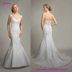W18647 Spaghetti Strap Sweetheart Neckline Lace Appliques Trumpet Wedding Dress with Sexy Open Back pictures & photos