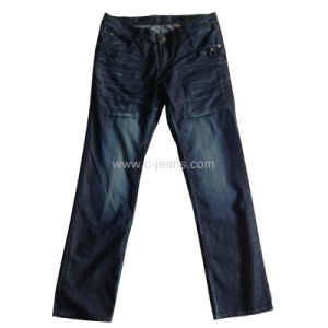 2014 Fashion Men′s Jeans Dark Blue Denim Jeans