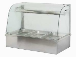 Stainless Steel Hot Food Display - Curved Glass (TJ-HFD)