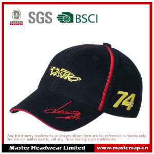 Black 100% Cotton Golden Embroidery Adults Racing Baseball Cap with Sandwich pictures & photos