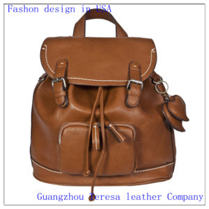 Lady′s Leather PU Travel School Backpack (Nmdk-8815) pictures & photos