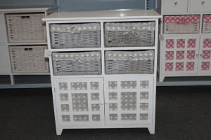 Wooden cabinet with 4 wicker drawers & lining