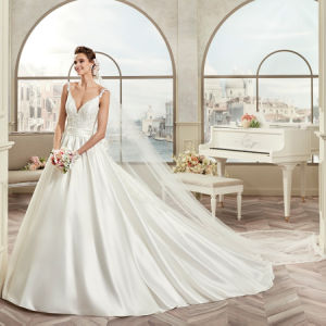 Elegant V-Neck Lace Appliques Satin Vestido De Noiva Wedding Dress 2017