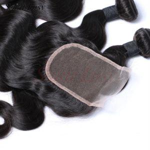 Brazilian Human Hair 4X4 Lace Closure Wholesale Weaving Remy Hair Unprocessed Virgin (SL-HE6A008) pictures & photos