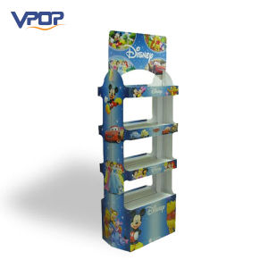 Cartoon Printed Cardboard 2 Sided Shelf Display with 4 Tiers pictures & photos