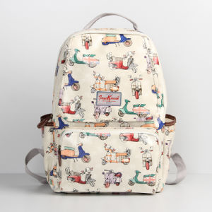 Waterproof PVC Canvas Motorbike Patterns White Backpack (99160) pictures & photos