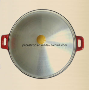 Enamel Cast Iron Wok with Stainless Steel Cover Dia 36cm pictures & photos