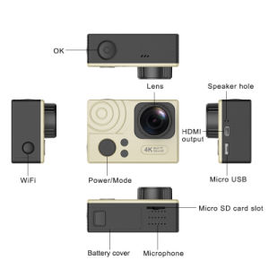 Action Camera Dual Screen Ultra Slim 4k HD 24fps 1080P 60fps 2.0′′ WiFi Nt96660 Sport Camera pictures & photos