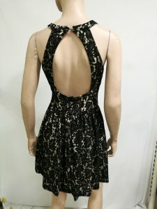 2017 Wholesale Women Fashion Dress Sexy Black Lace Halter Beautiful Lady Party Wear Western Dress pictures & photos