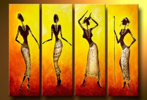 Abstract African Women Oil Painting 4 Panel Handmade Figure Painting on Canvas for Home Decoration