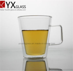 400ml Europe Style Double Wall Glass Coffee Cup Mug Tea Cup/Borosilicate Pyrex Double Wall Glass Espresso Cup with Handle
