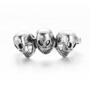 VAGULA 2017 New Style 3 Skulls Punk Silver Ring pictures & photos