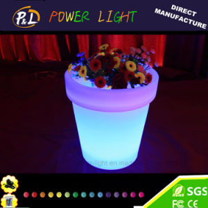 Home Furniture LED Plastic High Hotel LED Round Flower Pot pictures & photos