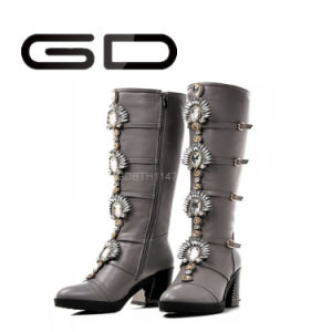 Classic Diamond Zipper Women Warm Tall Boots Fashion Women High Boots pictures & photos