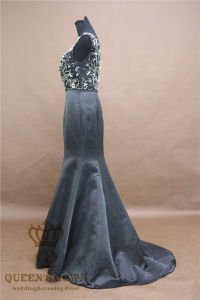 Sequins Beaded Sheer Bodice Sexy Royal Black Prom Dresses 2017 Long Mermaid Satin Dress pictures & photos