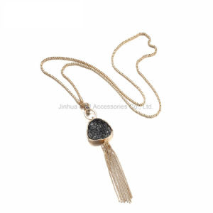 Fashion Tassel Statement Chain Necklace & Pendant Women Black Imitation Stone Resin Gold Plated Brand Jewellery pictures & photos