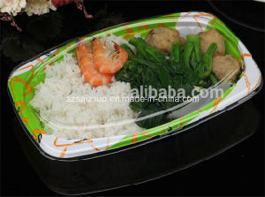 Embossing Disposable Plastic Dry Noodle Plate with Clear Cover (SZ-302) pictures & photos