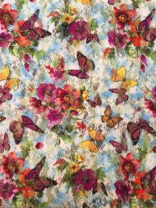 Hot Selling Butterfly Printed Flower Swiss Lace Fabric with 150cm Width