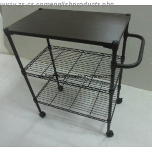 Adjustable Epoxy Multi-Functional Metal Kitchen Dining Cart (CJ903590B3E) pictures & photos