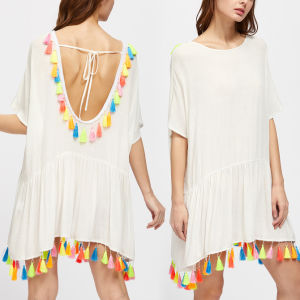 Fashion Women Leisure Casual Tassels Backless Dress pictures & photos