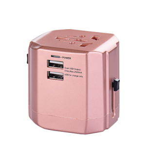 World Travel Socket Convertor with 2 USB Port 5V 2.5A pictures & photos