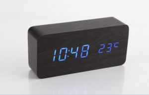 Latest Design Voice and Touch Activated LED Wooden Digital Alarm Clock pictures & photos