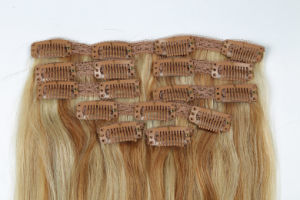 "Hot Selling 100% Human Hair Weaving Remy Clip-in Hair Extensions 22"" pictures & photos"