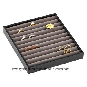 Glossy Wooden Lacquer Frame Jewelry Display Tray PU Leather Slot Ring Display Tray pictures & photos