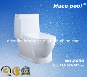Water Saving Siphonic One-Piece Closet Ceramic Toilet for Bathroom (8030) pictures & photos