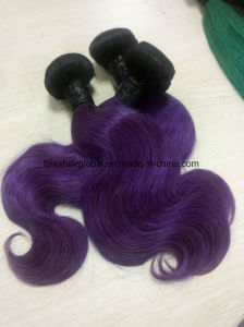 Brazilian Remy Hair Ombre Color 10inch Ot1b-Purple Body Wave pictures & photos
