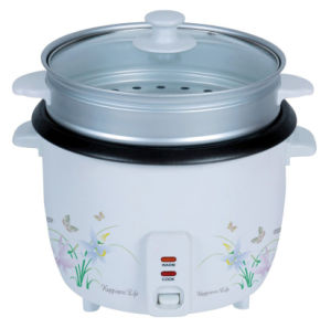 Electric Rice Cooker with Steamer & Glass Lid